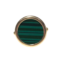 Bague Disc Malachite Or