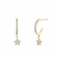 Boucles d'Oreilles Mini Créoles Star Vermeil