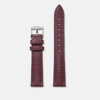 Bracelet Cuir 16mm Lezard Bordeaux Argent/Silver