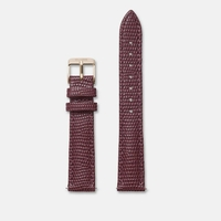 Bracelet Cuir 16mm Lezard Bordeaux Rose Gold / Or Rose