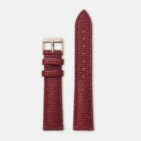 Bracelet Cuir 18mm Lezard Rouge Foncé Rose Gold / Or Rose
