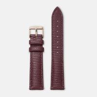 Bracelet Cuir 18mm Lezard Bordeaux Rose Gold / Or Rose