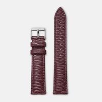 Bracelet Cuir 18mm Lezard Bordeaux Silver / Argent