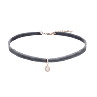 Collier Cluse Amourette Velours Gris & Breloque Rose Gold Marble