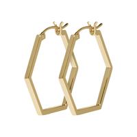 Boucles d'Oreilles Créole Essentielle All Hexagons Gold