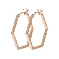 Boucles d'Oreilles Créole Essentielle All Hexagons Rose Gold