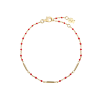 Bracelet Chaine Barre Mimi Rouge Or