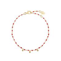 Bracelet Chaine Boule Mimi Rouge Or