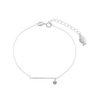 Bracelet Chaine Barre & Zircon Argent