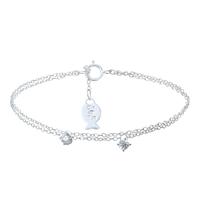 Bracelet Chaine Zircons Double Argent
