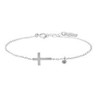 Bracelet Chaine Zircon Croix Argent