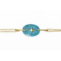 Bracelet Galet Etoile Turquoise Or