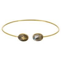 Bracelet Jonc Etoile Labradorite Or