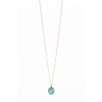 Collier Galet Etoile Turquoise Or
