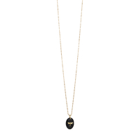 Collier Galet Libellule Onyx Or
