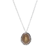 Collier Ovale Bicolore Or Argent