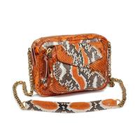 Sac Python Charly Orange Painted Chaine Or
