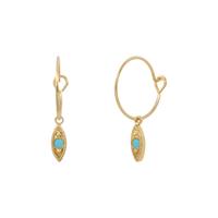 Boucles d'Oreilles Mini Créoles Navette Turquoise