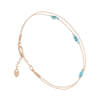 Bracelet Double Chaines Or Turquoise