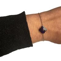 Bracelet Trèfle Argent Pierre Bleu Foncé Transparent