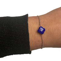 Bracelet Trèfle Argent Pierre Bleu Opaque