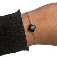 Bracelet Trèfle Argent Pierre Noire