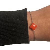 Bracelet Trèfle Argent Pierre Orange