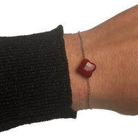 Bracelet Trèfle Argent Pierre Rouge Opaque