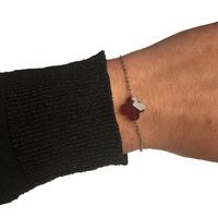 Bracelet Trèfle Argent Pierre Rouge Transparente