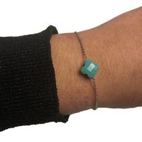 Bracelet Trèfle Argent Pierre Turquoise