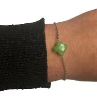 Bracelet Trèfle Argent Pierre Vert Clair
