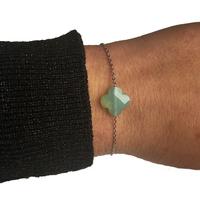 Bracelet Trèfle Argent Pierre Vert D'eau