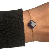Bracelet Trèfle Doré Pierre Bleu Foncé Transparent