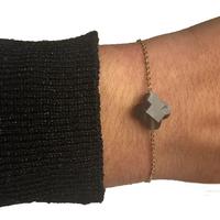 Bracelet Trèfle Doré Pierre Gris Foncé Transparent