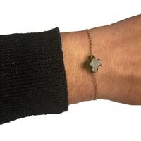 Bracelet Trèfle Doré Pierre Vert Kaki
