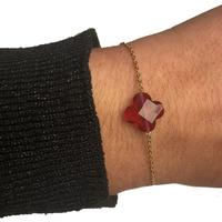 Bracelet Trèfle Doré Pierre Rouge Transparent