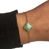 Bracelet Trèfle Doré Pierre Vert d'Eau