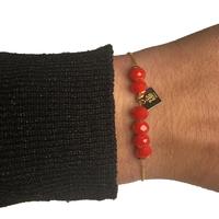 Bracelet ZAG Doré Boules Rouge