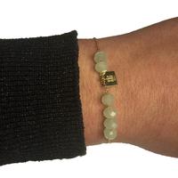 Bracelet ZAG Doré Boules Vert D'eau