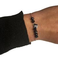 Bracelet ZAG Argent Boules Noir