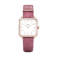 Montre La Tetragone Rose Gold White / Soft Berry Aligator