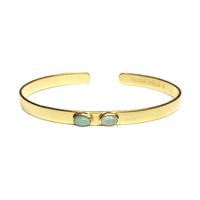 Bracelet Mini Jonc Duo Nacre Bleue Or