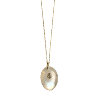 Collier Sautoir Nacre Blanche Chaine Or