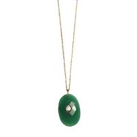 Collier Sautoir Onyx Vert Chaine Or