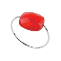 Bague Friandise Or Blanc Quartz Rouge