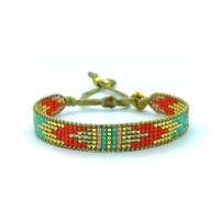 Bracelet Golden Caraibes Turquoise et Corail 7