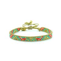 Bracelet Golden Caraibes Turquoise et Corail 8
