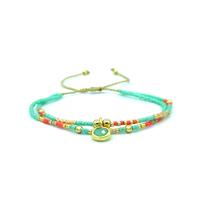 Bracelet Golden Caraibes Turquoise et Corail Double