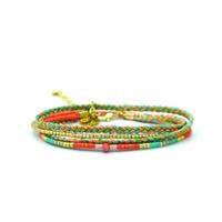 Bracelet Golden Caraibes Turquoise et Corail Double/ Double Tours