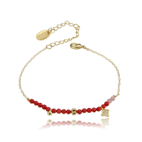 Bracelet Perles Rouge Chaine Or